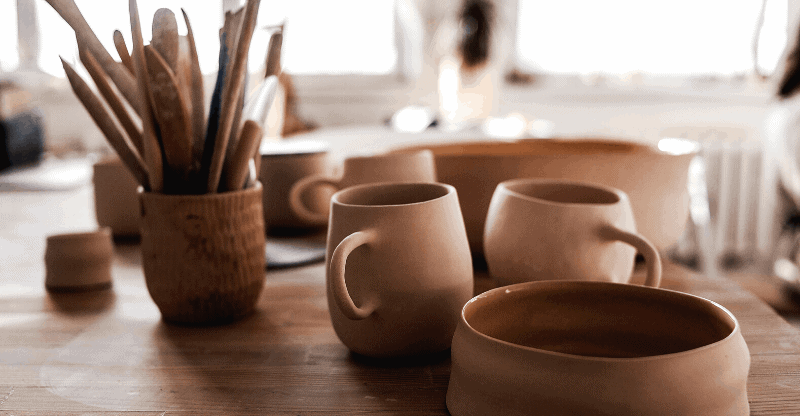 ceramic bowl and cups