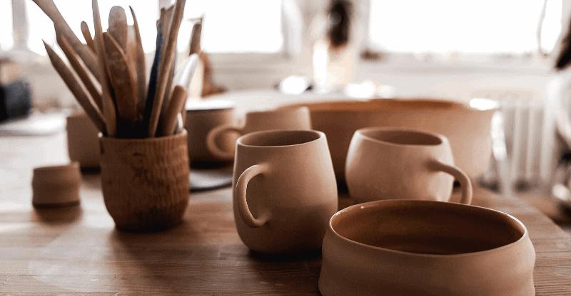ceramic bowl and cups