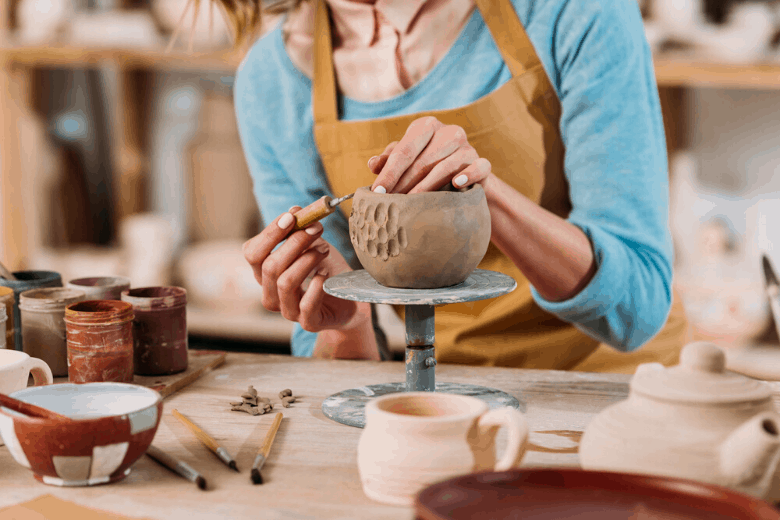 woman in pottery workshop